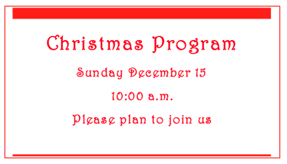 The Appleton Community EFC Christmas Program is Sunday, Dec. 15 at 10 a.m.