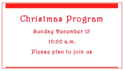 The Appleton Community EFC Christmas Program is Sunday, Dec. 15 at 10 a.m.